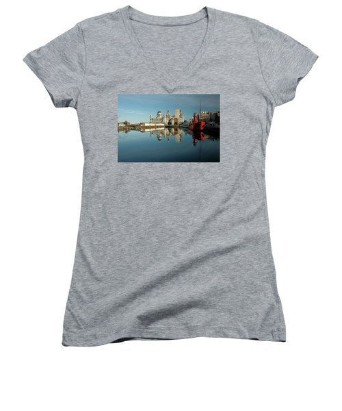 Women's V-Neck T-Shirt (Junior Cut) featuring the photograph The Red Ship by Jonah  Anderson