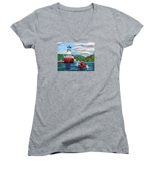 Out Kayaking Women's V-Neck T-Shirt (Junior Cut) by Laura Forde