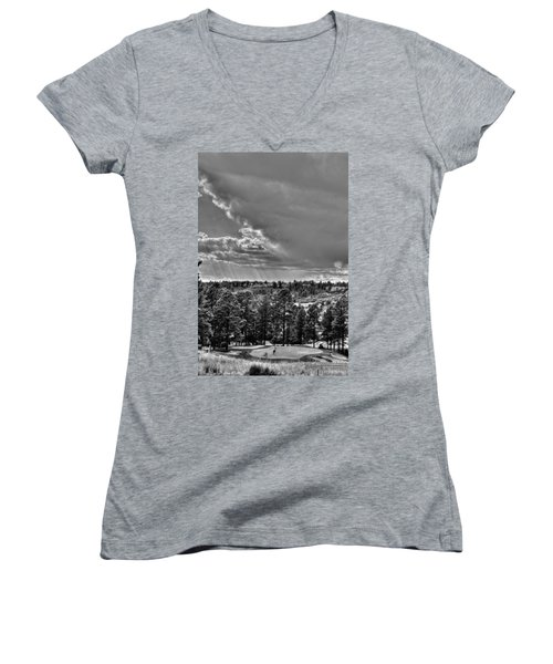 Women's V-Neck T-Shirt (Junior Cut) featuring the photograph The Ridge Golf Course by Ron White