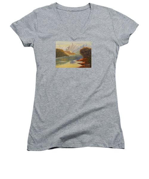 The River Flowing From A High Mountain Women's V-Neck (Athletic Fit)