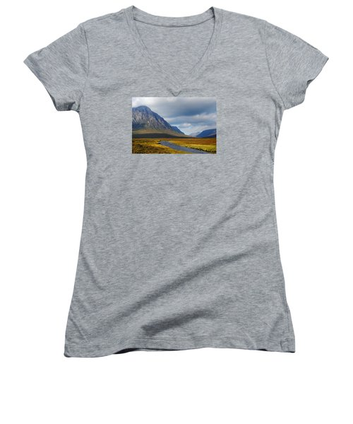 The River Runs Through It Women's V-Neck T-Shirt (Junior Cut) by Wendy Wilton
