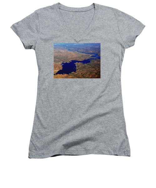 Women's V-Neck T-Shirt (Junior Cut) featuring the photograph The River Winds by Natalie Ortiz