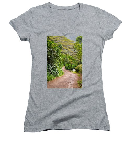 The Road Less Traveled Women's V-Neck T-Shirt (Junior Cut) by Denise Bird