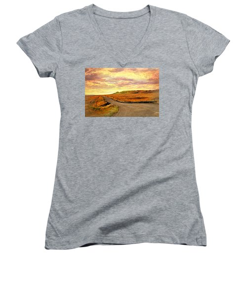 Women's V-Neck T-Shirt (Junior Cut) featuring the photograph The Road Less Trraveled Sunset by Marty Koch