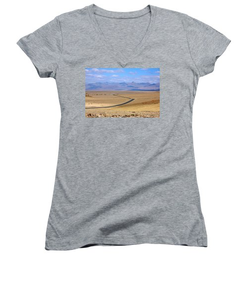 Women's V-Neck T-Shirt (Junior Cut) featuring the photograph The Road by Stuart Litoff