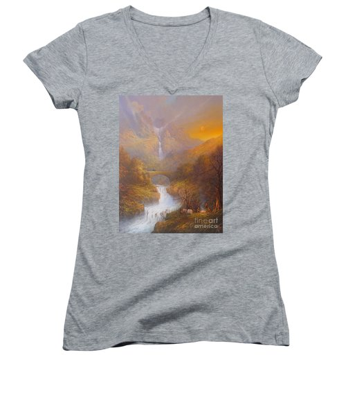 The Road To Rivendell The Lord Of The Rings Tolkien Inspired Art  Women's V-Neck T-Shirt (Junior Cut) by Joe  Gilronan