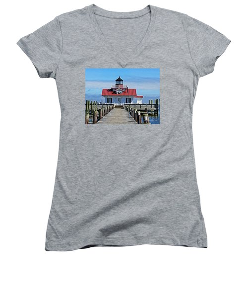 The Roanoke Marshes Lighthouse  Women's V-Neck T-Shirt