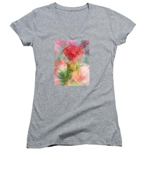 The Romance Of Roses Women's V-Neck T-Shirt (Junior Cut) by Carla Parris