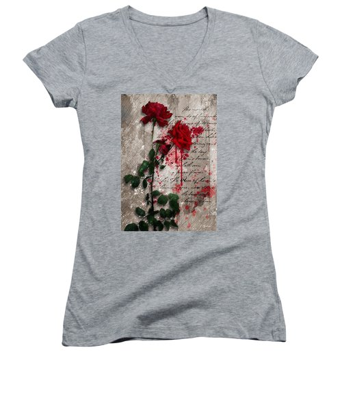 The Rose Of Sharon Women's V-Neck T-Shirt (Junior Cut) by Gary Bodnar