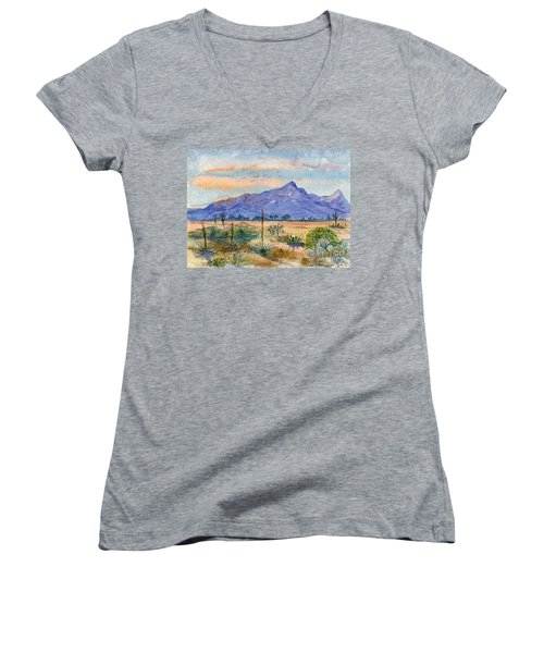 The San Tans Women's V-Neck T-Shirt (Junior Cut) by Marilyn Smith