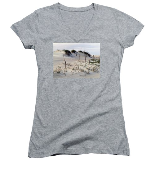 The Sands Of Obx Women's V-Neck T-Shirt (Junior Cut) by Greg Reed