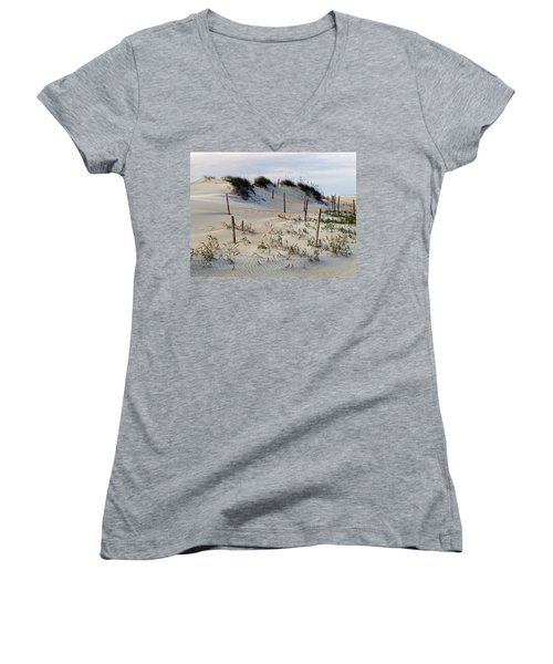 The Sands Of Obx II Women's V-Neck T-Shirt (Junior Cut) by Greg Reed