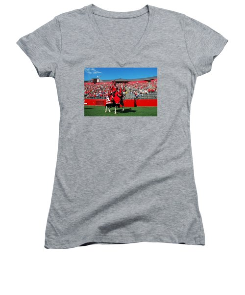 The Scarlet Knight And His Noble Steed Women's V-Neck T-Shirt (Junior Cut) by Allen Beatty