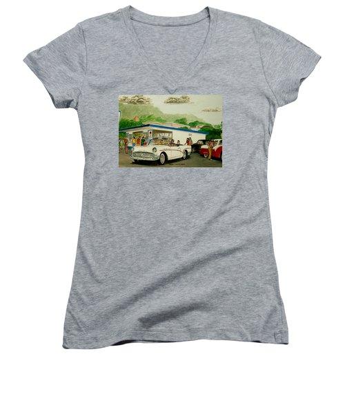 The Shake Shoppe Portsmouth Ohio 1960 Women's V-Neck T-Shirt (Junior Cut) by Frank Hunter