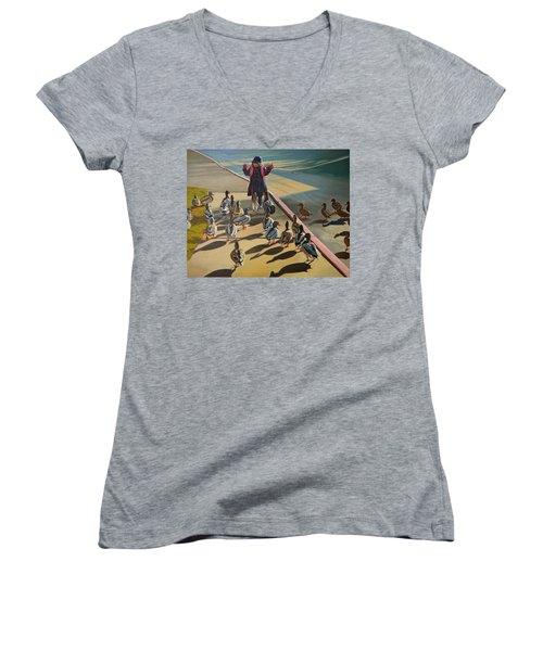 Women's V-Neck T-Shirt (Junior Cut) featuring the painting The Sidewalk Religion by Thu Nguyen