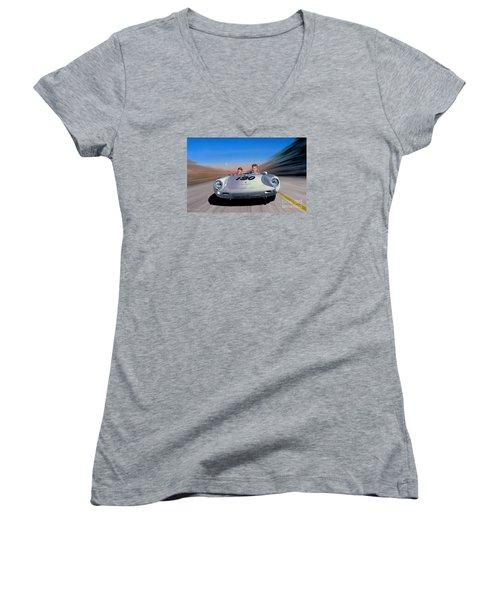 The Spirit Lives Women's V-Neck T-Shirt (Junior Cut) by Michael Swanson