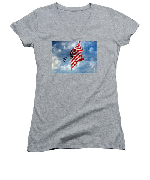 The Star Spangled Banner Yet Waves Women's V-Neck T-Shirt (Junior Cut) by Lydia Holly