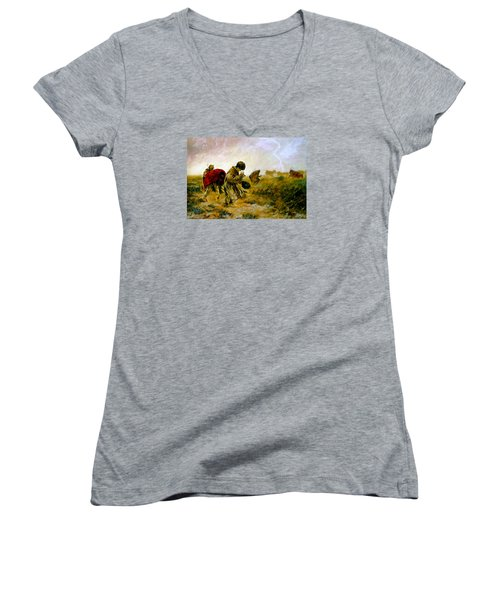 Women's V-Neck T-Shirt (Junior Cut) featuring the painting The Storm by Henryk Gorecki