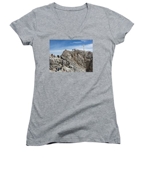 Women's V-Neck T-Shirt (Junior Cut) featuring the photograph The  Summit - 1 by Pema Hou