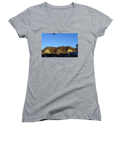 Women's V-Neck T-Shirt (Junior Cut) featuring the photograph The Three Stones From Burgdorf by Felicia Tica