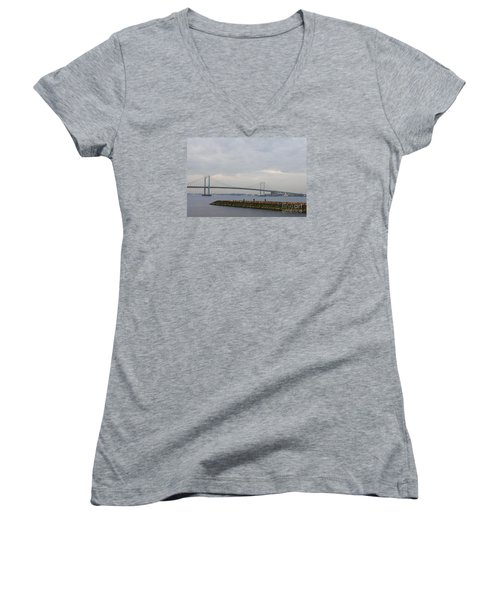 Women's V-Neck T-Shirt (Junior Cut) featuring the photograph The Throgs Neck Bridge by John Telfer