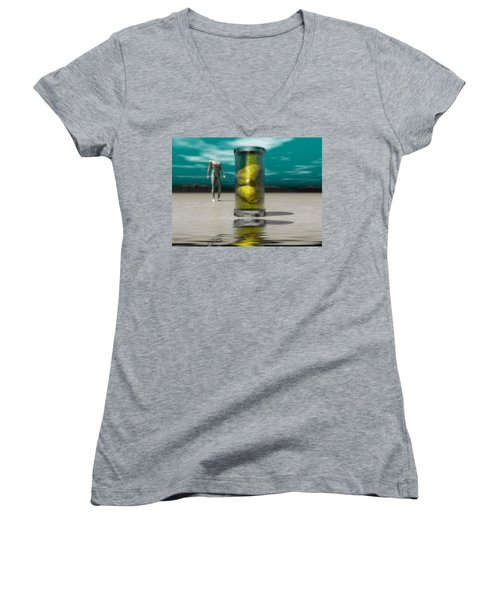 Women's V-Neck T-Shirt (Junior Cut) featuring the digital art The Time Capsule by John Alexander