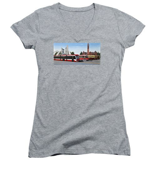 The Toronto Streetcar 100 Years Women's V-Neck T-Shirt (Junior Cut) by Kenneth M  Kirsch