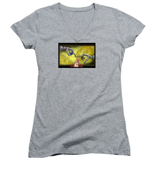 Women's V-Neck T-Shirt (Junior Cut) featuring the digital art The Touch by Scott Ross