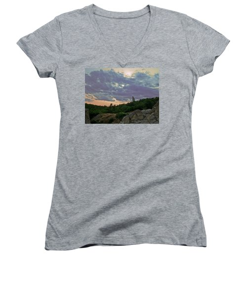 Women's V-Neck T-Shirt (Junior Cut) featuring the photograph The Tower by Eti Reid
