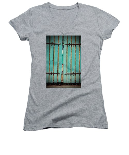 The Turquoise Gate Women's V-Neck T-Shirt (Junior Cut) by Holly Blunkall