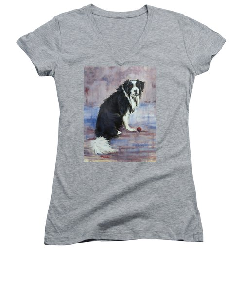 Women's V-Neck T-Shirt (Junior Cut) featuring the painting The Twilight Years by Cynthia House