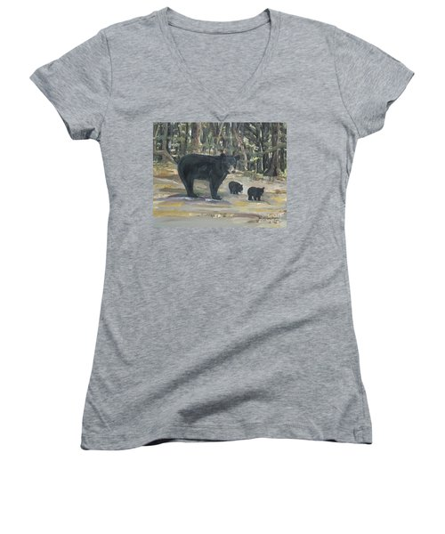 Women's V-Neck T-Shirt (Junior Cut) featuring the painting Cubs - Bears - Goldilocks And The Three Bears by Jan Dappen