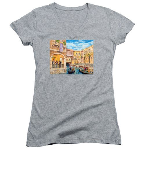 The Venetian Canal  Women's V-Neck (Athletic Fit)
