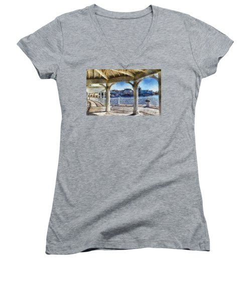 The View From The Boardwalk Gazebo Wdw 02 Photo Art Women's V-Neck T-Shirt (Junior Cut) by Thomas Woolworth