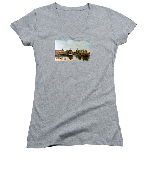 Women's V-Neck T-Shirt (Junior Cut) featuring the painting The View Of Delft by Henryk Gorecki