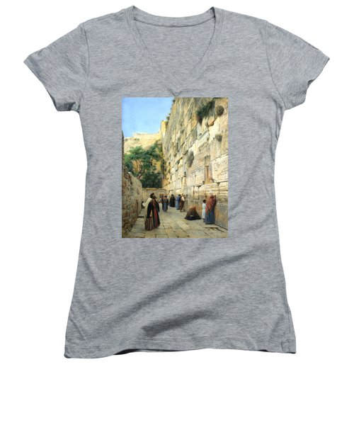 The Wailing Wall Jerusalem Women's V-Neck