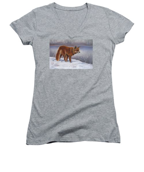 Women's V-Neck T-Shirt (Junior Cut) featuring the drawing The Waiting Game by Cynthia House