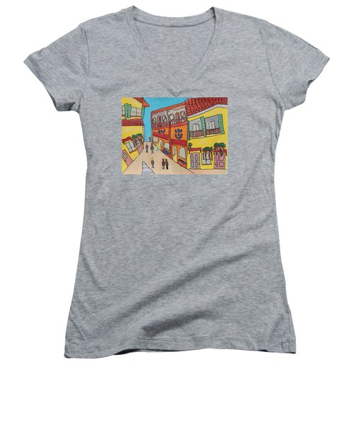 The Walled City Women's V-Neck T-Shirt (Junior Cut) by Artists With Autism Inc