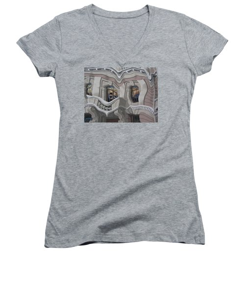 Women's V-Neck T-Shirt (Junior Cut) featuring the photograph The Walls Are Coming Down by Natalie Ortiz
