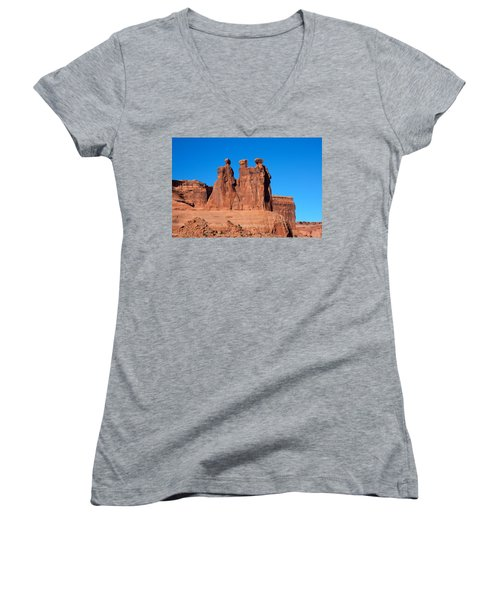 Women's V-Neck T-Shirt (Junior Cut) featuring the photograph The Watchers by John M Bailey