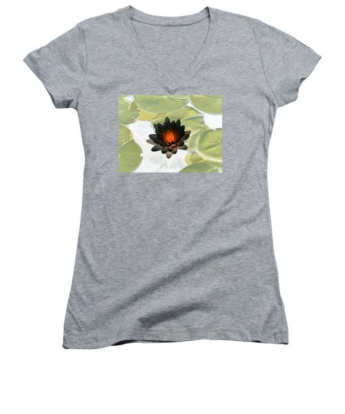 Women's V-Neck T-Shirt (Junior Cut) featuring the photograph The Water Lilies Collection - Photopower 1034 by Pamela Critchlow