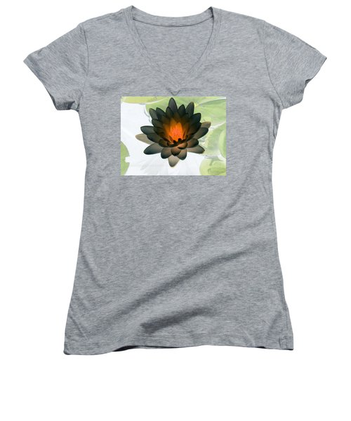 Women's V-Neck T-Shirt (Junior Cut) featuring the photograph The Water Lilies Collection - Photopower 1035 by Pamela Critchlow