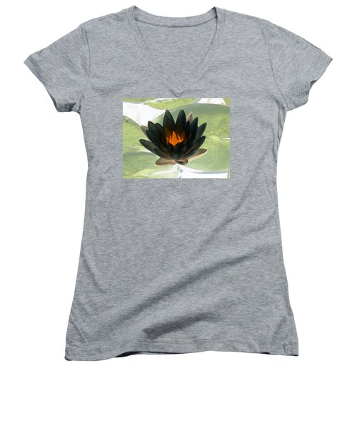 Women's V-Neck T-Shirt (Junior Cut) featuring the photograph The Water Lilies Collection - Photopower 1037 by Pamela Critchlow