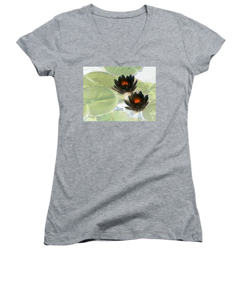 Women's V-Neck T-Shirt (Junior Cut) featuring the photograph The Water Lilies Collection - Photopower 1039 by Pamela Critchlow