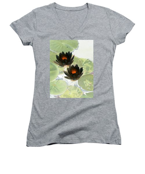 Women's V-Neck T-Shirt (Junior Cut) featuring the photograph The Water Lilies Collection - Photopower 1040 by Pamela Critchlow