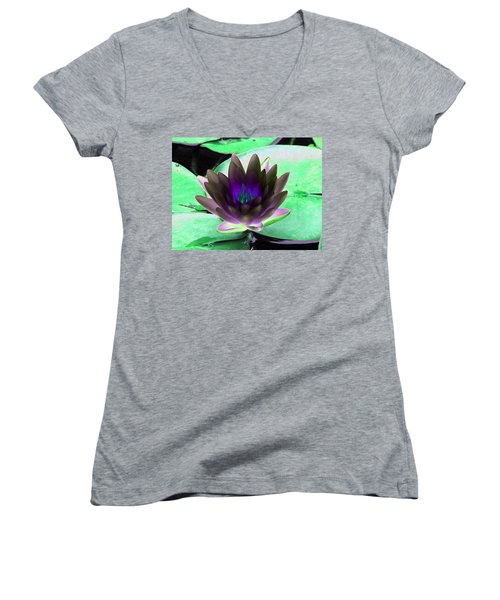 Women's V-Neck T-Shirt (Junior Cut) featuring the photograph The Water Lilies Collection - Photopower 1116 by Pamela Critchlow
