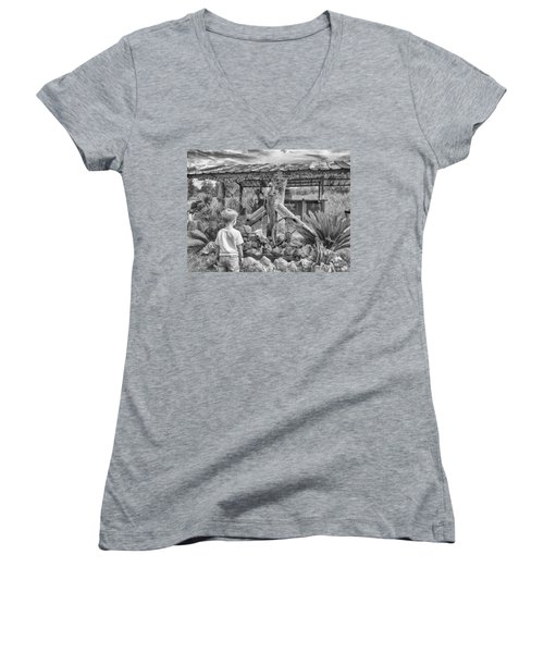 Women's V-Neck featuring the photograph The Watering Hole by Howard Salmon