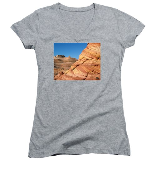 Women's V-Neck T-Shirt (Junior Cut) featuring the photograph 'the Wave' North Coyote Buttes 13 by Jeff Brunton