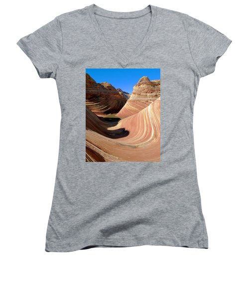 Women's V-Neck T-Shirt (Junior Cut) featuring the photograph 'the Wave' North Coyote Buttes 19 by Jeff Brunton