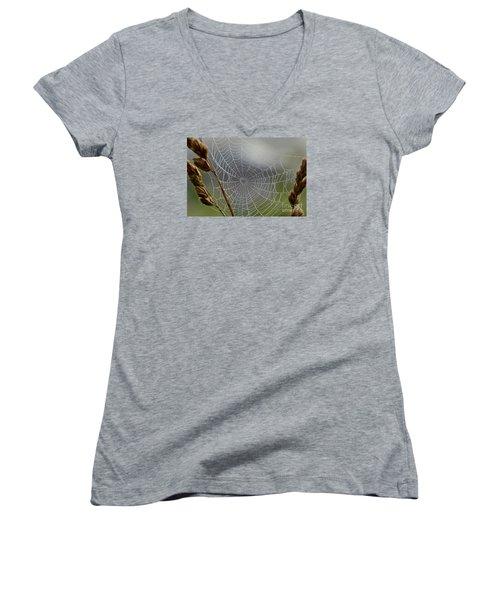 The Web Women's V-Neck T-Shirt (Junior Cut) by Kerri Farley